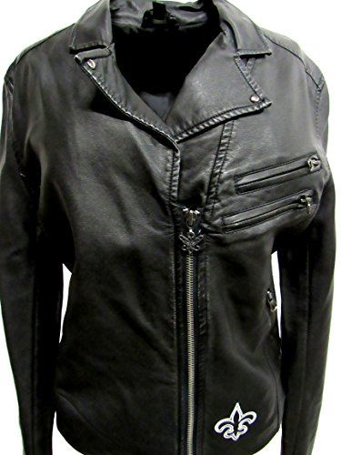 G-III Sports New Orleans Saints Womens Large Touch By Alyssa Milano Embroidered Faux Leather Jacket ANOS 43 - Milano Leather Coat