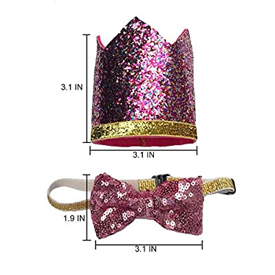 Perktail Cute Pet Birthday Crown Hat and Bow tie Collar Set for Dog Cat Birthday Party Supplies