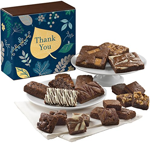 Fairytale Brownies Thank You Medley Gourmet Food Gift Basket Chocolate Box - Full-Size, Snack-Size and Bite-Size Brownies - 21 Pieces
