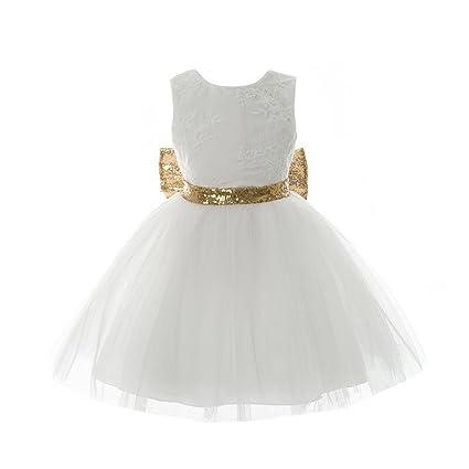 Vestido de encaje con lentejuelas para niñas, para bodas, fiestas de cumpleaños y niños