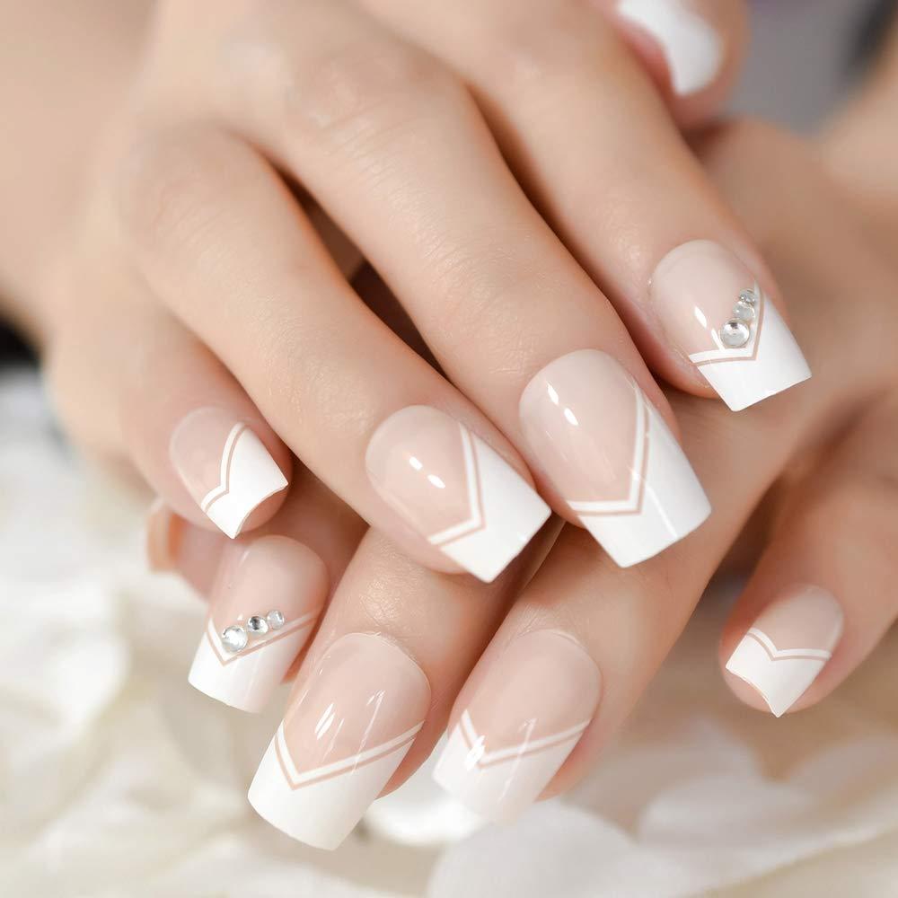 Amazon.com : CoolNail Natrual Nude White V French False Nails Rhinestones Glitter Decor Nail Tips Full Acrylic Artificial Press on Wear UV Fake Nails : ...