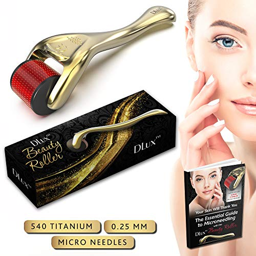 Microneedle Derma Roller with Protective Kit and Ebook :: New 2019 Model :: Titanium 0.25mm Microneedles :: 540 Exfoliating Needles :: Micro Roller for Face ::