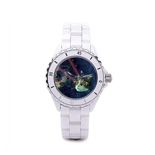 Queensland Ladies cerámica relojes gatos el reloj tienda Cosmic gato: Amazon.es: Relojes