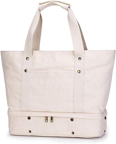 Medium Canvas Tote Bag Beach Travel Gym Everyday Bag White And Navy Stripes