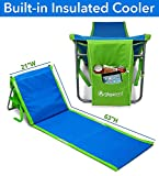 Portable Beach Lounge Chair with Insulated Cooler and Storage Pocket - Lightweight, Foldable