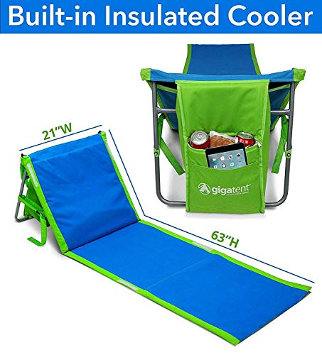 Mat Lounge (GigaTent Beach Lounge Chair Mat Portable Adjustable Backrest with Cooler Storage Pouch)