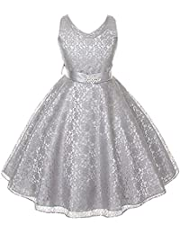 Full Lace V-Neck Dress Satin Sash Rhinestone Brooch Flower Girl Dress