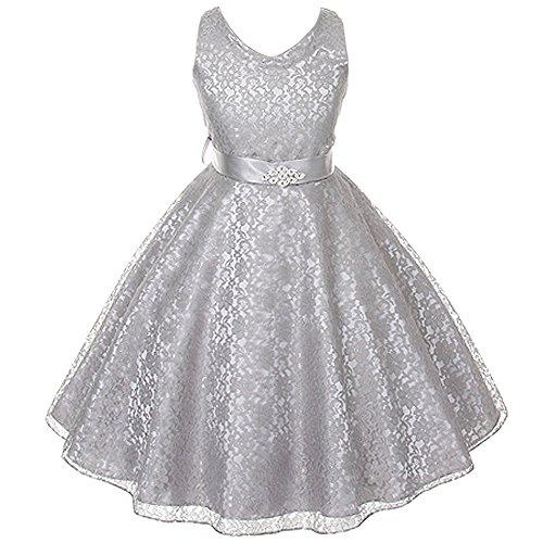 Little Girls Fabulous Full Lace V-Neck Dress Rhinestone Brooch Silver - Size 6