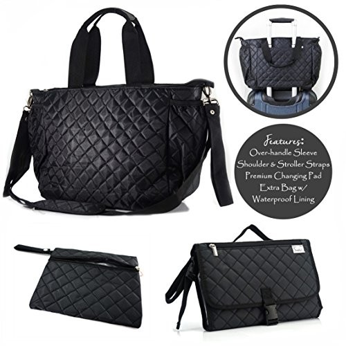 Simplily Co. Multi-Function Diaper Tote Bag Set for Everyday Or Travel w/Over The Handle Sleeve (Black (Nylon Baby Bag Tote)