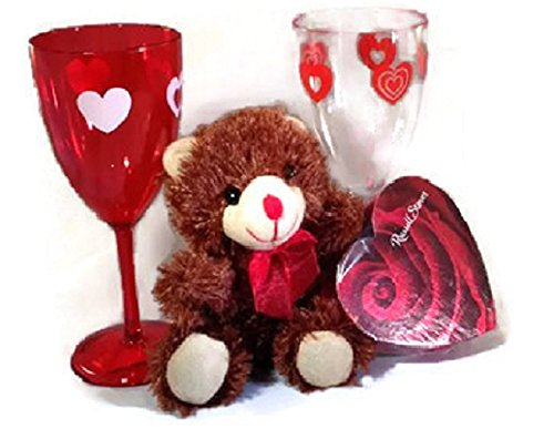 Valentine Gift Set Chocolate Scented Bear 2 Goblets Russell Stover Chocolates