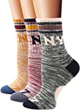 Flora&Fred Women's 3 Pair Pack Vintage Style New York Cotton Crew Socks Large, Shoe: 8-11