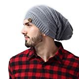 Slouchy Cable Knit Beanie - Chunky, Oversized Slouch Beanie Hats for Men & Women - Stay Warm & Stylish - Serious Beanies for Serious Style
