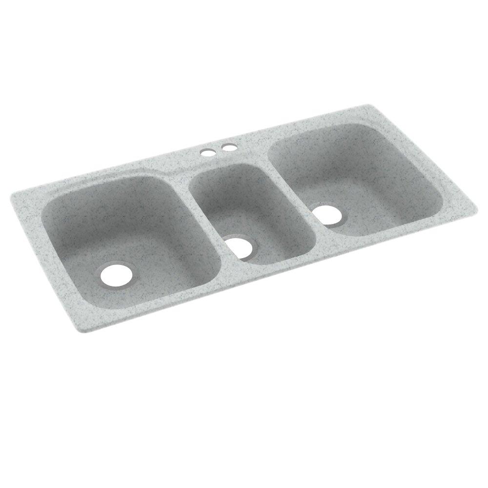 Swanstone KS04422TB.053-2 2-Hole Solid Surface Kitchen Sink, 44'' x 22'', Tahiti Gray