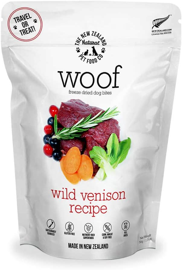 The New Zealand Natural Pet Food WOOF Wild Venison Freeze Dried Raw Dog Food, Topper, or Treat - High Protein, Natural, Limited Ingredient Recipe 1.76 oz