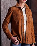 Ryan Michael Women's Allison Suede Leather Shirt Tan Small