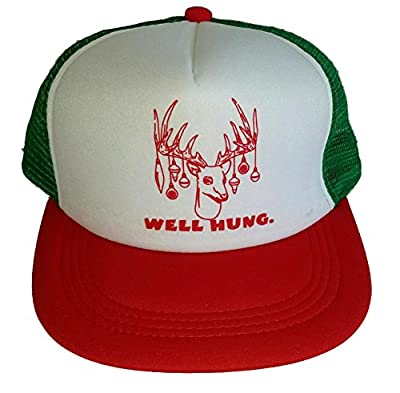 Well Hung Mesh Trucker Hat Cap Snapback Ugly Sweater Party Christmas X Mas