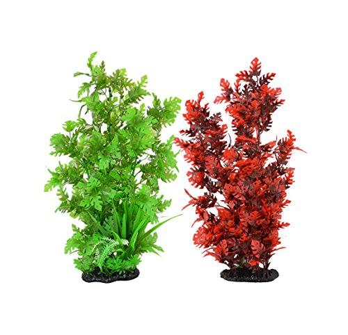 (CNZ 2-Pack Aquarium Decor Fish Tank Decoration Ornament Artificial Plastic Red/Green 15-inch Tall)