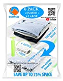 "Boonew Durable 2 Jumbo + 4 Large Vacuum Storage Bags for Clothes, Bedding, Pillows, Space Saver Compression Sacks Size 28x40"" + 28x20"" (Pack of 6)"
