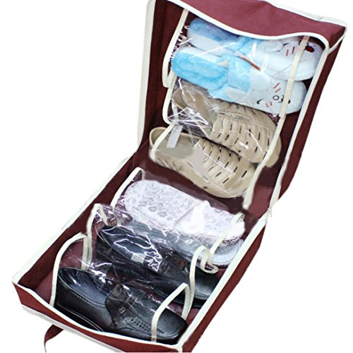 Creazy Portable Shoes Travel Storage Bag Organizer Tote Luggage Carry Pouch Holder (Wine Red)