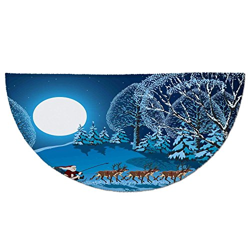 Half Round Door Mat Entrance Rug Floor Mats,Christmas Decorations,Santa in Sleigh a Holy Night with Full Moon Snowy Winter Xmas Theme,Navy Blue,Garage Entry Carpet Decor for House Patio Grass Water by iPrint