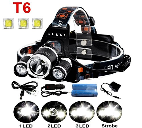 5000Lumen Bright 3 CREE XM-L XML T6 LED Headlamp,KissAir(TM) Flashlight Torch 4 Modes Headlight with Rechargeable Batteries for Hiking Camping Outdoor Riding Night Fishing Hunting Running Night Riding