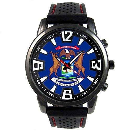 Timest - Michigan US State Flag - Mens Black Jelly Silicone Wrist Watch Analog Quartz SF653 ()
