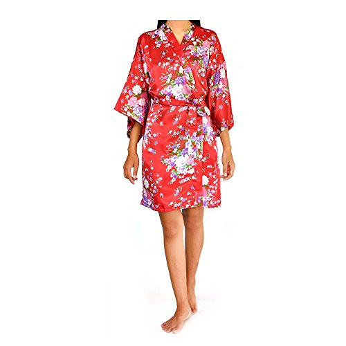 Floral Cherry Blossom Silky Satin Kimono Robe Dressing Gown for Home, Bridesmaids and Weddings (Red Floral)