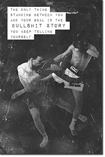 Muay Thai Motivational Poster 08 ''Bullshit story...'' Photo Print Art Motivation Quote Gift Thai Thailand - Size: 15 x 10 Inches by Introspective Chameleon