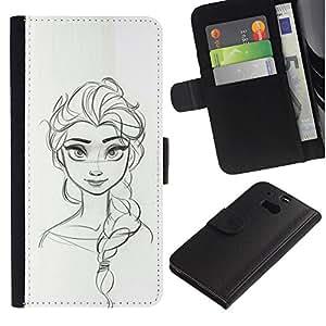 Paccase / Billetera de Cuero Caso del tirón Titular de la tarjeta Carcasa Funda para - sketch woman drawing scribble girl - HTC One M8
