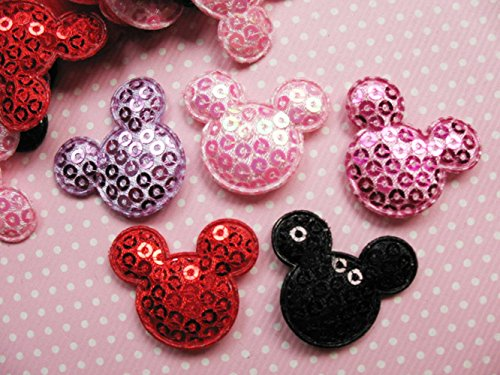 YYCRAFT Pack of 90 Padded Felt Mouse Head w/Sequin Appliques -9 Colors