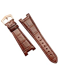 25mm Brown Leather Watch Strap Band Rose Gold Buckle Suitable patek philippe 5711|5712