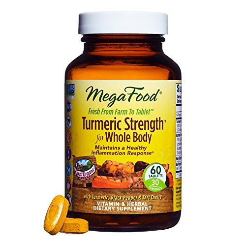 MegaFood - Turmeric Strength for Whole Body, Curcumin Support for a Healthy Inflammation Response with Tart Cherry and Holy Basil Leaf, Vegetarian, Gluten-Free, Non-GMO, 60 Tablets (Mega Body)