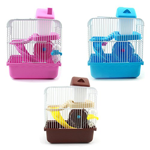SODIAL 2 Floors Storey Hamster Cage Mouse house with slide disk spinning bottle