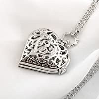 MingXiao New Vintage Women Girl Hollow Heart-Shape Pendant Necklace Chain Pocket Watch