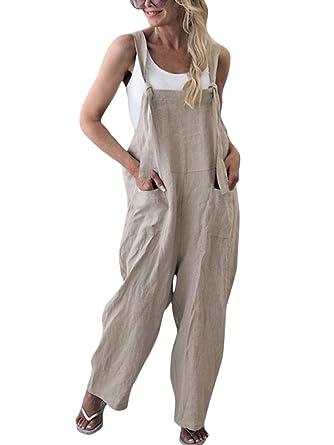 beaucoup de styles prix le plus bas les mieux notés dernier Minetom Femme Salopette Casual Large Ample Harem Sarouel Pantalon  Combinaison Jumpsuit Chic Lin Poches Playsuit Overalls Rompers