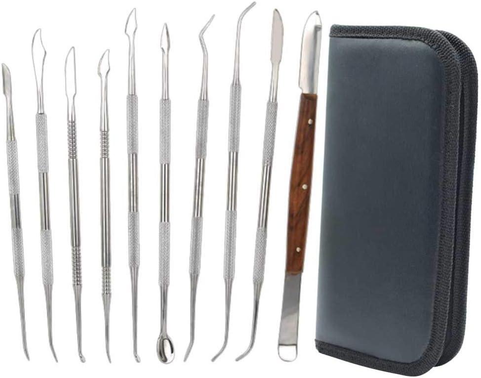 SUPVOX Accesorios de Modelado de Herramientas de Esculpir espátula de Cera de Acero Inoxidable (Bolsa Negra)