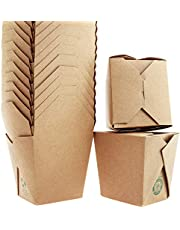 100% Recycled, Eco-Friendly 26 Oz Chinese Take Out Boxes 10 Pk. Unbleached, BPA-Free Takeout Containers are Leakproof and Microwavable. Stackable to-Go Meal Pails Great for Weddings or Party Favors
