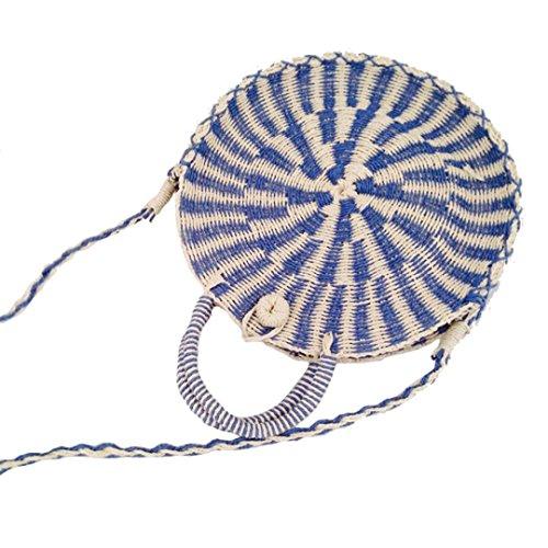 Manualbages Bolso Redondo De Las Mujeres De La Rota Bolso Femenino De La Paja del Verano Raya del CíRculo SeñOra Bolso De Hombro De Compras Grande De Punto Ss3138 Blue Blue