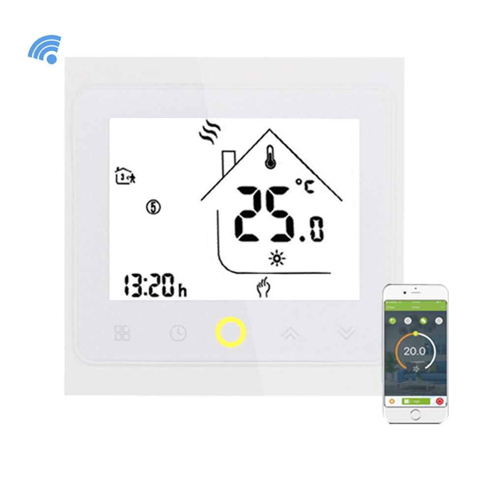 Onepeak Termostato Wifi programable Agua/Caldera de gas Termostato Pantalla LCD Controlador de temperatura Funciona con Alexa Google Inicio 3A: Amazon.es: ...