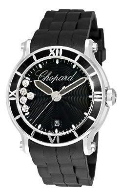 Chopard Women's 288525-3005 Happy Sport Round Black Waved Dial Watch