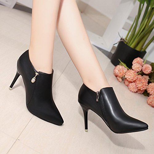 Muy Bien con Los Zapatos Puntiagudos Botas de Tacón Alto Solo Botas Femeninas Cremallera Lateral Corta Botas Desnudas , rojo , EUR35
