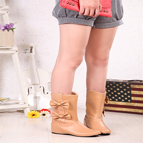 to QX boots female color boots College Winter head grow set and Autumn short Apricot foot ZQ wind female sweet wild R4wqFBw