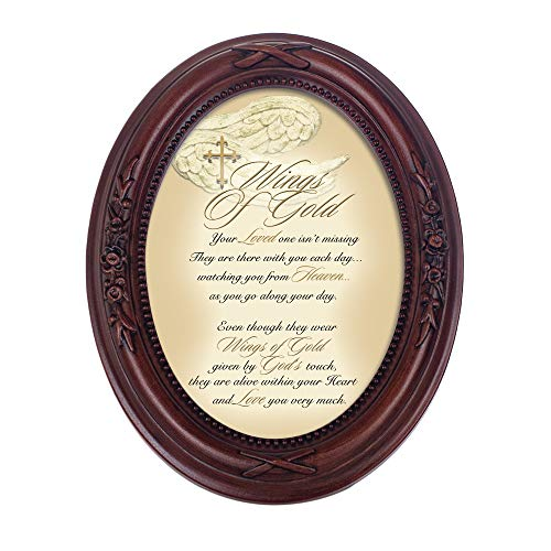 Cottage Garden Wings of Gold Loved One Burgundy Floral 5 x 7 Oval Table Top and Wall Photo Frame