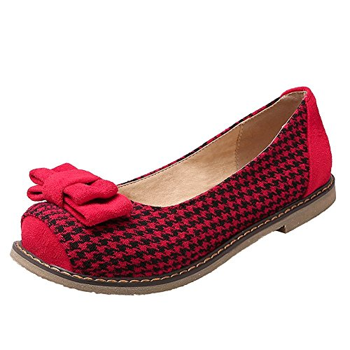 Carolbar Womens Bows Hounds-tooth Assortiti Colori Flats Shoes Red