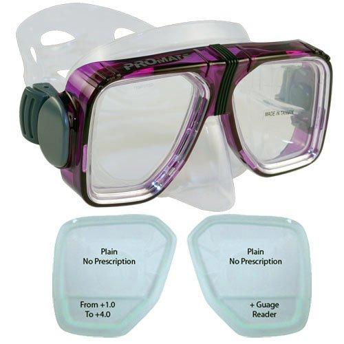 BiFocal Gauge Reading Scuba Dive Snorkeling Mask Prescription Lenses, Purple, +3.5 Bifocal