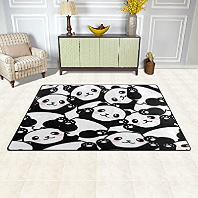 WOZO Cute Panda Animal Area Rug Rugs Non-Slip Floor Mat Doormats Living Dining Room Bedroom Dorm 31 x 20 inches Home Decor: Home & Kitchen