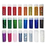 Original Stationery Glitter - Extra Fine and Flake Loose Powder. Slime Supplies, Arts, Crafts. Pack of Shaker Jars. For Kids, Face/Nail/Eye Art, Projects, Cards. Assorted Colours. Variety Set of 24