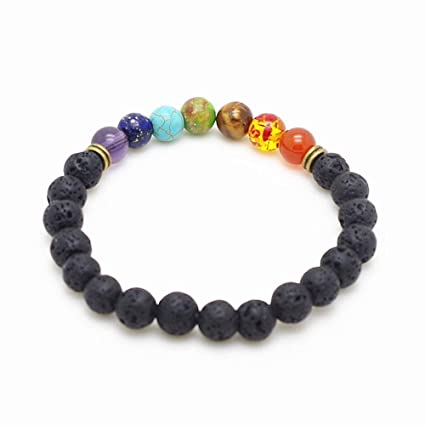 Amazon.com: ForShop 8mm Beads Lava Rock 7 Chakra Healing ...