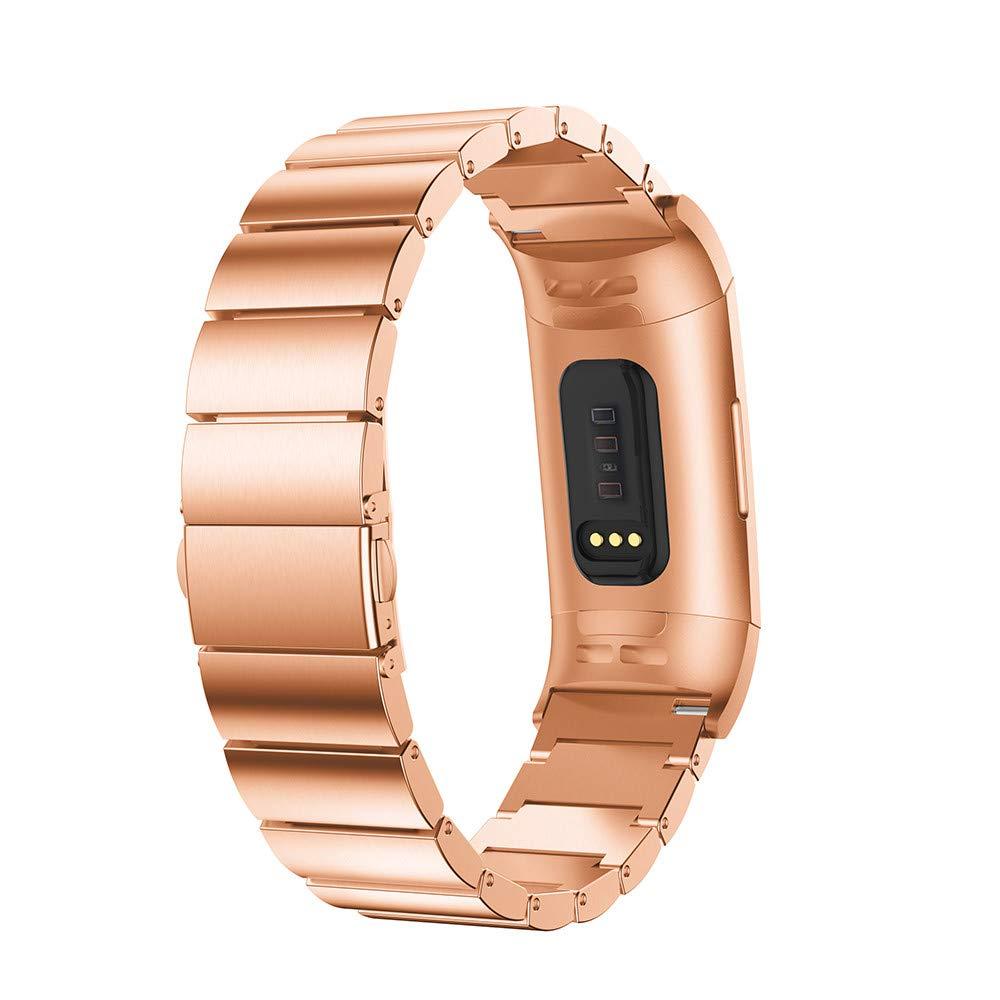 Cooljun pour Fitbit Charge 3, Bracelet de Remplacement en Acier Inoxydable Bande de Montre Intelligente Bracelet de Remplacement en Acier Inoxydable Bande de Montre Intelligente (Noir)