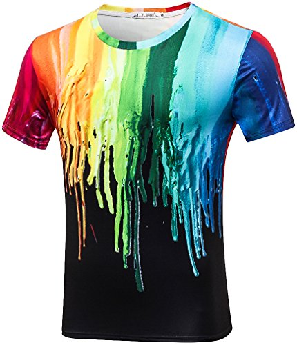 Pizoff Unisex Short Sleeve Crew Neck Pullover Breathable Quickly Dry 3D Colorful Splatter Paint Print Work Out Compression Muscle T-Shirt Y1788-10-M